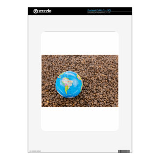 Many whole coffee beans with South America globe Skins For The iPad