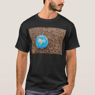 Many whole coffee beans with South America globe T-Shirt