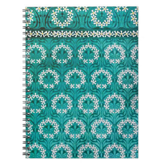 MANYTHANKS TEAL FLORAL WHITE YELLOW WREATHS PATTER SPIRAL NOTEBOOKS