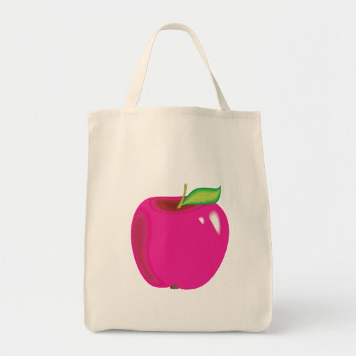 manzana brillante bolsa tela para la compra