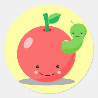 manzana del kawaii pegatina redonda