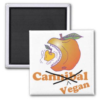 manzana divertida del vegano imán cuadrado