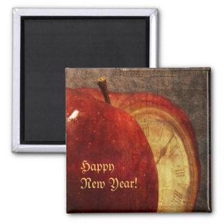 manzana e imán de la Feliz Año Nuevo del reloj