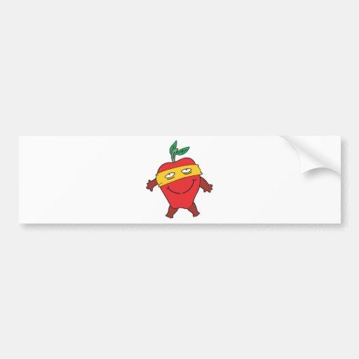 manzana estupenda enmascarada tonta etiqueta de parachoque