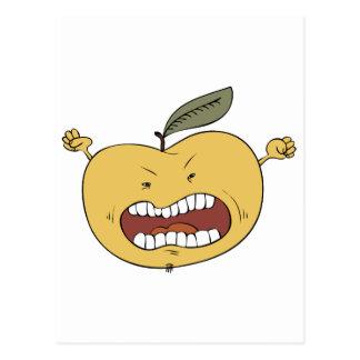 Manzana furiosa tarjeta postal