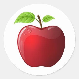 manzana pegatina redonda