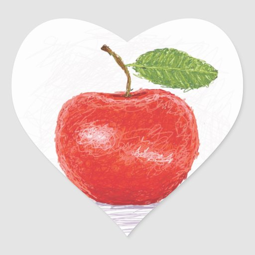 manzana pegatina en forma de corazón