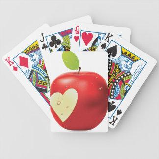 Manzana roja 2 de la mordedura del corazón cartas de juego