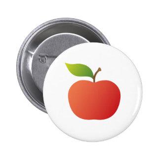 Manzana roja agradable de la manzana con el botón  pins