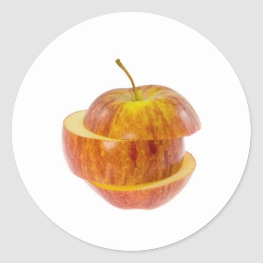Manzana roja cortada pegatina redonda
