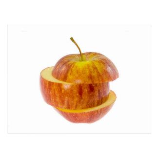 Manzana roja cortada tarjeta postal