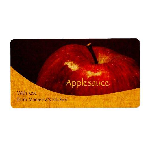 Manzana roja - etiqueta de enlatado casera de la c etiqueta de envío