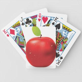Manzana roja fresca baraja cartas de poker