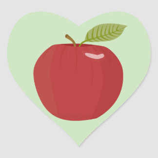 manzana roja pegatina en forma de corazón