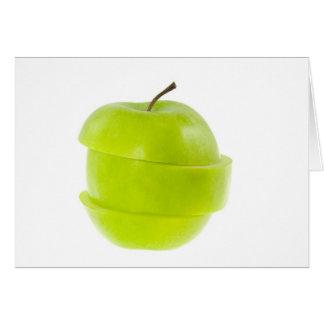 Manzana verde cortada tarjeta de felicitación