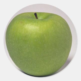 Manzana verde deliciosa pegatinas redondas