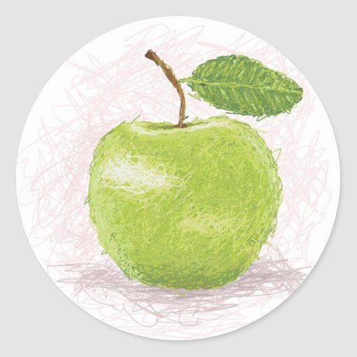 manzana verde etiqueta redonda