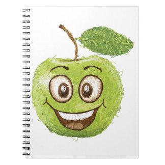 manzana verde feliz cuaderno
