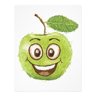 manzana verde feliz membrete a diseño