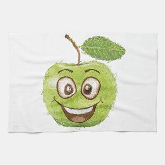 manzana verde feliz toallas de cocina