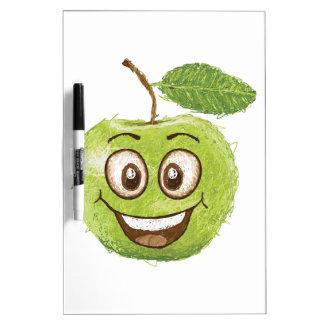 manzana verde feliz tablero blanco