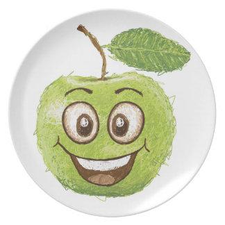 manzana verde feliz plato