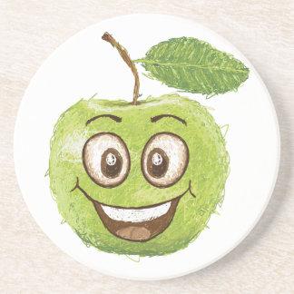 manzana verde feliz posavasos para bebidas