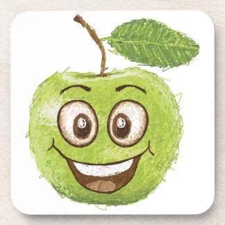 manzana verde feliz posavasos de bebida