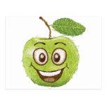 manzana verde feliz postal