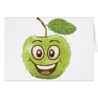 manzana verde feliz felicitación
