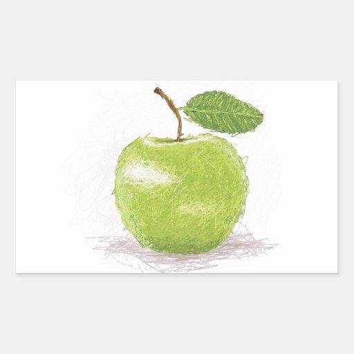 manzana verde rectangular pegatinas