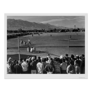 Manzanar Ansel Adams Baseball 1943 Poster