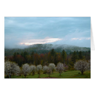 Manzanar floreciente blanco de la montaña brumosa tarjeton