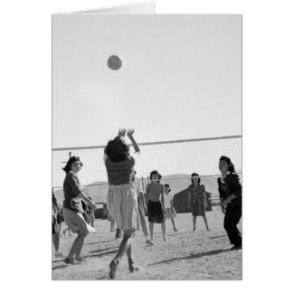 Manzanar Girls Play Volleyball WW2 Greeting Card