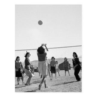 Manzanar Girls Play Volleyball WW2 Postcard