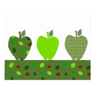 Manzanas acolchadas verde tarjeta postal