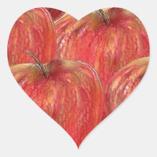 Manzanas al modelo de las manzanas calcomanías corazones personalizadas
