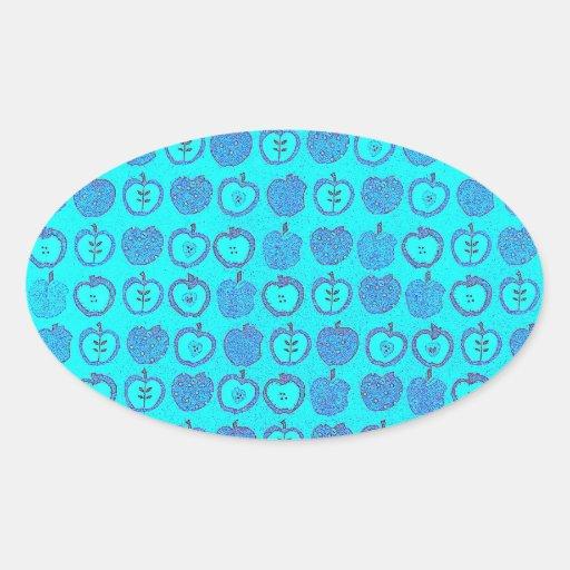 Manzanas azules impresionantes en un diseño del pegatina ovalada