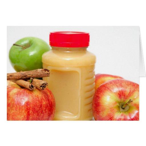 Manzanas canela y compota de manzanas tarjeta de felicitación