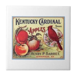Manzanas cardinales de Kentucky del vintage, Barre Azulejo Cuadrado Pequeño