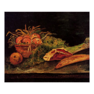 Manzanas, carne y un rollo de Van Gogh Poster
