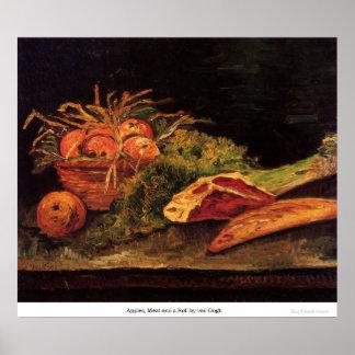 Manzanas, carne y un rollo de Van Gogh Impresiones
