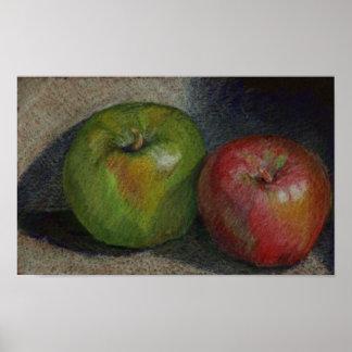 Manzanas coloreadas del lápiz póster