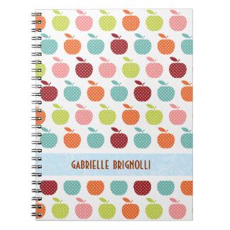 Manzanas coloridas y modelo inconsútil de Polkadot Spiral Notebook
