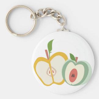 Manzanas cortadas llavero redondo tipo chapa