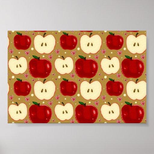 Manzanas cortadas rojo posters