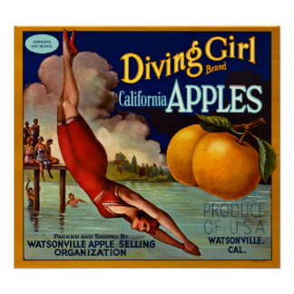 Manzanas de California de la marca del chica del s Póster