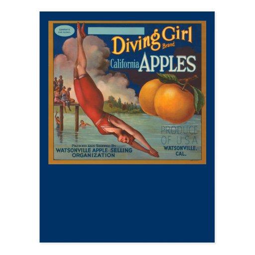 Manzanas de California del chica del salto Tarjeta Postal