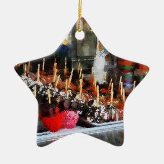 Manzanas de caramelo ornamento para arbol de navidad