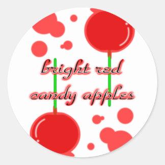 manzanas de caramelo pegatina redonda